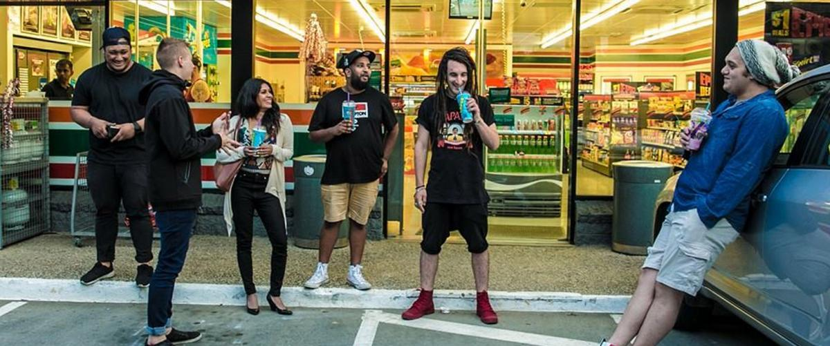Melbourne based Mosé + The FMLY outside a convenience store.