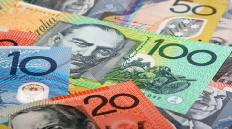 Close up of several notes of Australian currency.