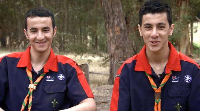Omar and Saad sharing thier story about becoming scouts in Australia.